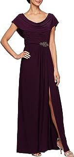 Alex Evenings Women's Long Cowl Neck A-line Dress