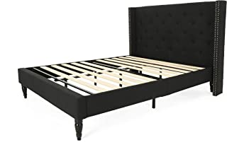 Christopher Knight Home 306987 Raye Fully-Upholstered Bed Frame-Queen-Size-Traditional-Black