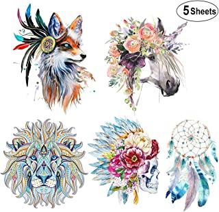 (5 Sheets) Large Iron On Patches,Akwox Flower Horse Skull Pattern Dreamcatcher Lion Wolf Thermal Transfer Patches Washable Heat Transfer Stickers for DIY Women Men Kids T-Shirt,Jeans,Bags