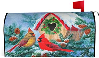 Granbey A Couple Cardinal Birds Stand On The Tree Waterproof Magnetic Mailbox Cover Red Bird Dust-Proof Letterbox Covers L...