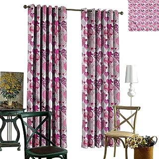 Hearts Grommets Curtain for Kitchen Window Symbols of Love Design Sliding Darkening Curtains W84 x L84
