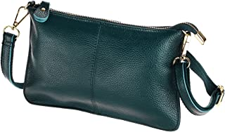 Women's Cowhide Leather Clutch Handbag Small Shoulder Bag Purse