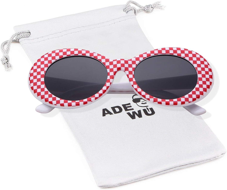 ADEWU Clout Goggles, Lunettes de Soleil Ovales Damier Rose