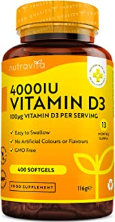 Vitamina D 4000 UI - Fuerza máxima - 400 cápsulas blandas fáciles de tragar - Suministro para más de un año - VIT D3 de al...