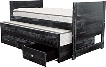 Bedz King All in One Twin Bed with Twin Trundle and 3 Built in Drawers, Weathered Black
