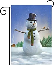 Pickako Christmas Xmas New Year Snowman Robin Birds Winter Snowflake Snow Seasonal Garden Yard Flag 12 x 18 Inch, Double Sided Outdoor Decorative Welcome Flags Banners for Home House Lawn Patio