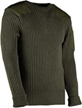 British Commando Sweater Woolly Pully Crew Neck with Epaulets & Pen Pocket