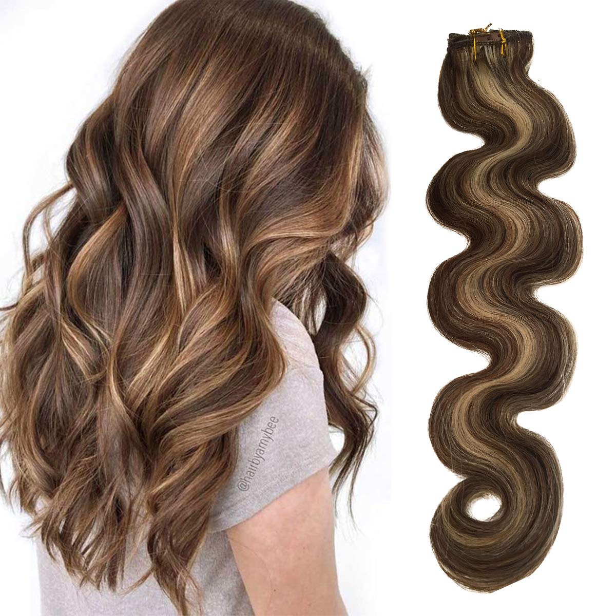 Wavy Clip in Hair Finally popular brand Extensions Human to Blond Chocolate Brown Popular brand