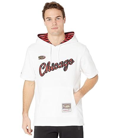 Mitchell & Ness Striped Logo Short Sleeve Hoodie Bulls (White) Men