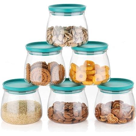 AZZOTE Airtight Container Jar Set For Kitchen - 900ml Set Of 6, Jar Set For Kitchen, Kitchen Organizer Container Set Items, Air Tight Containers For Kitchen Storage, Made In India (Aqua Green)