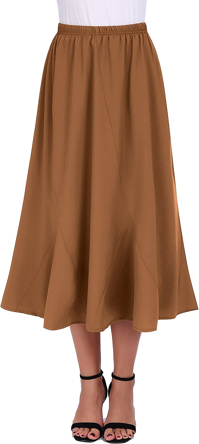 FISOUL Women Vintage Elastic Waist Skirts Casual Blow Knee Length Flared ALine Pleated Long Skirts