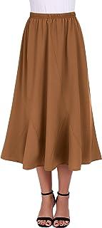 a87fd48e9 FISOUL Women Vintage Elastic Waist Skirts Casual Blow Knee Length Flared  A-Line Pleated Long