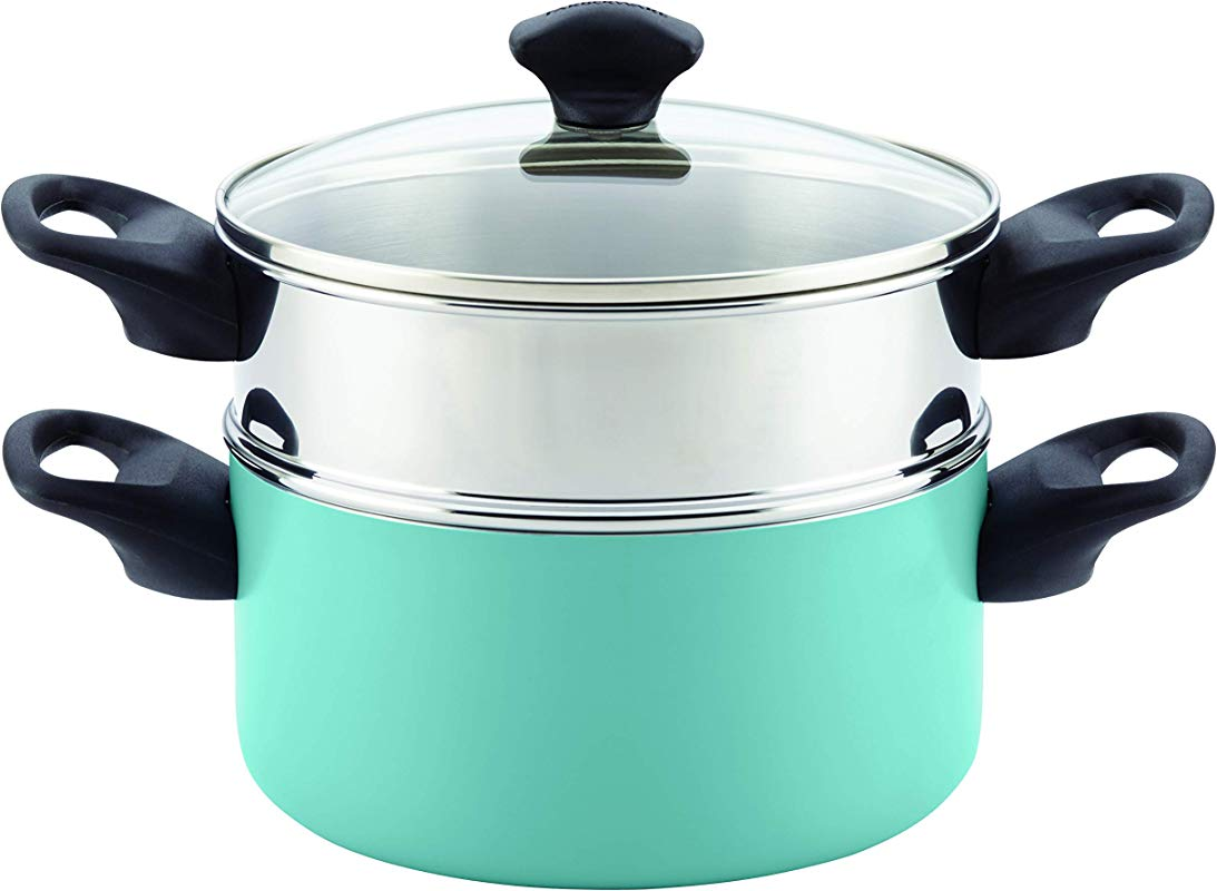 Farberware 21984 Dishwasher Safe Nonstick Aluminum Covered Saucepot Steamer Insert 3 Quart Stack N Steam Aqua 3 Qt