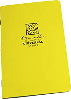 "Rite in the Rain All-Weather Stapled Notebook, 4 5/8"" x 7"", Yellow Cover, Universal Pattern, 3 Pack (No. 371FX)"