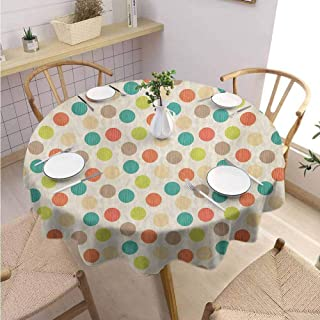 DILITECK Retro Decorative Round Tablecloth Colorful Pattern with Striped Circles on Grungy Background Funky Abstract and Spotty Picnic Diameter 60