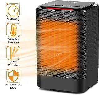 QAZXC Calefactor Eléctrico Cerámico 950 con Termostato Oscilación Automática La Caída Se Cierra Automáticamente Y El Gran Angular Continúa Calentándose