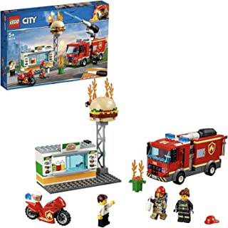 LEGO City Fire Burger bar Rescue Truck Toy, Burger bar Minifigures & Accessories, Fire Trucks for Kids