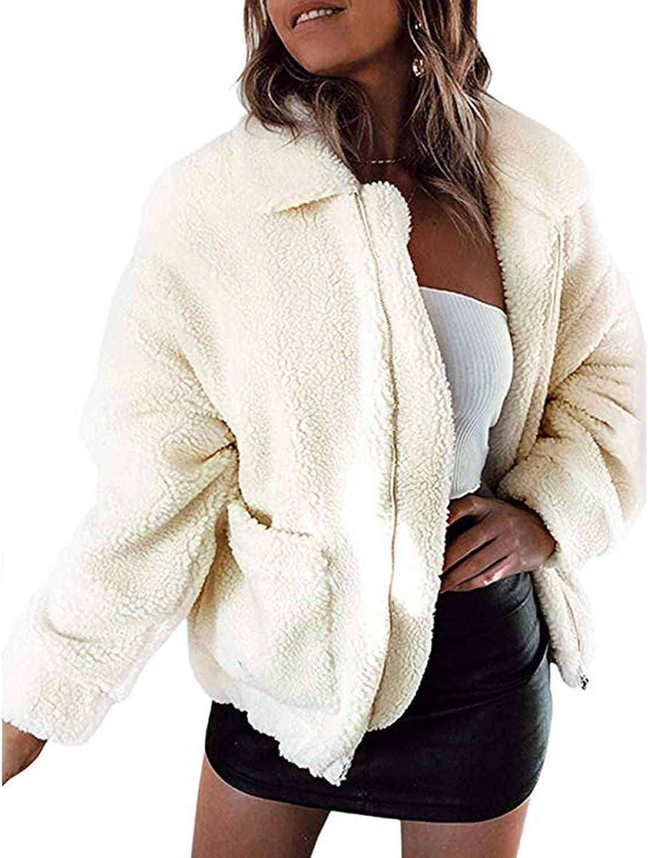 WUAI-Women Oversized Winter Coat Casual Lapel Fleece Fuzzy Faux Shearling Zipper Coats Warm Winter Oversized Outwear Jackets