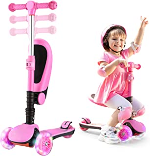 AOODIL Kick Scooters for Kids 2-in-1 Adjustable 3 Wheel Scooters for Kids Toddlers Girls & Boys with Folding Seat-Kids Scooter with PU Flashing Wheels for Children 2 to 14 Year-Old
