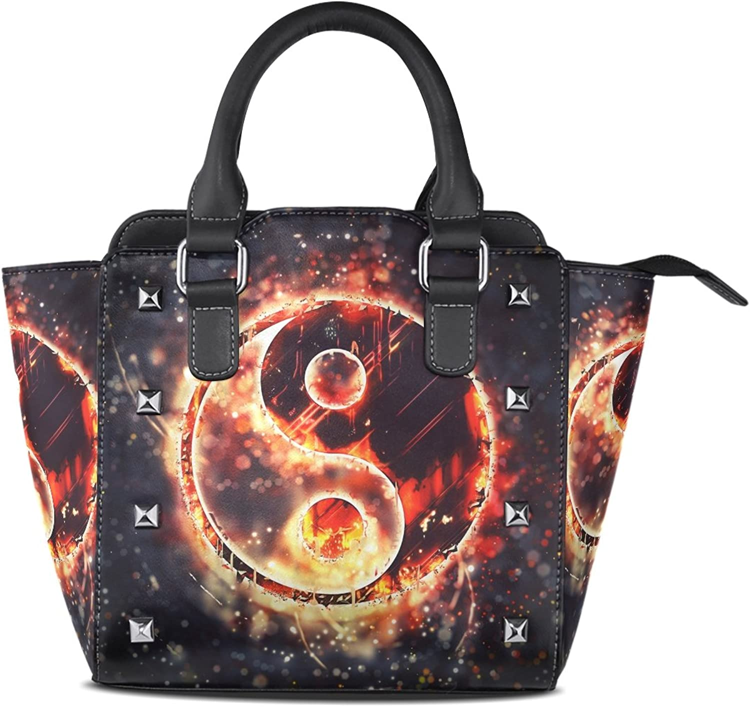Sunlome Burning Yin Yang Sign Print Handbags Women's PU Leather Top-Handle Shoulder Bags