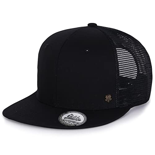 ililily Extra Large Size Solid Color Flat Bill Snapback Hat Blank Baseball  Cap 0063b3888bf