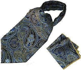 Men's Paisley Jacquard Woven Self Cravat Tie Ascot Pocket Square Set (Blue)