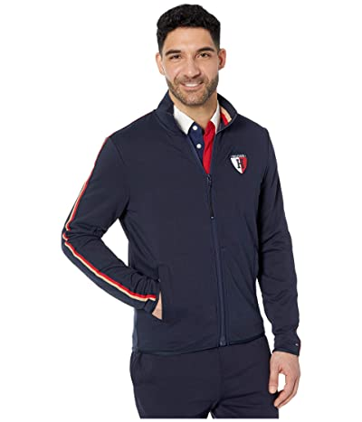 Tommy Hilfiger Adaptive Sweatshirt with Magnetic Zipper and Mock Neck (Sky Captain) Men