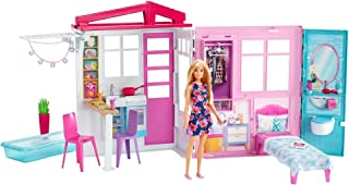Barbie Doll and Dollhouse, Portable 1-Story Playset with...