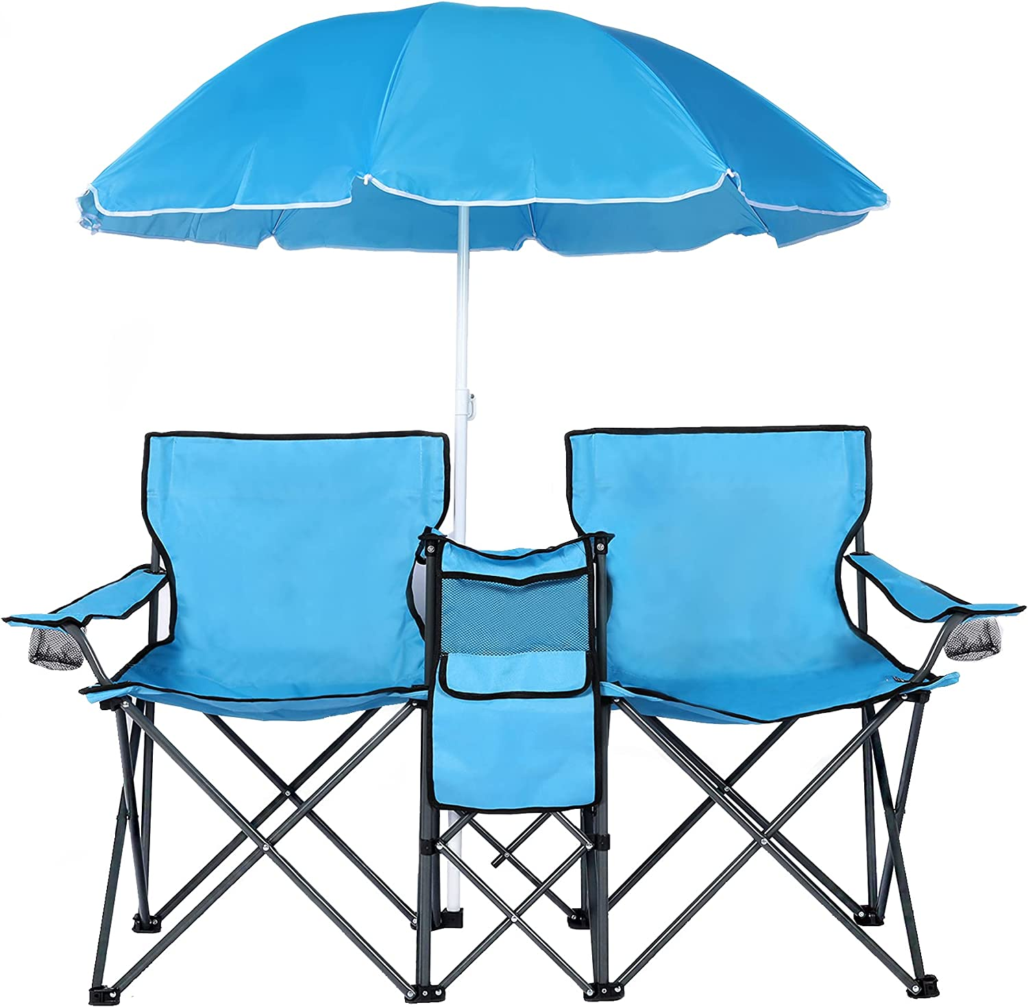 OKL Double Portable Picnic Chair Daily bargain sale Folding W Camping Umbrell Gifts