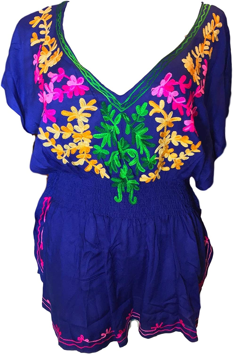 Angelina Commerces Authentic Mexican Hand Crafted Women Blouses Flowers Design