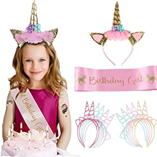 TALITARE Unicorn Headband Pink Satin Sash Birthday Party Sash Unicorn for Birthdays Role Playing Festivals Etc Unicorn Sla...