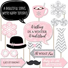 Big Dot of Happiness Pink Winter Wonderland - Holiday Snowflake Birthday Party or Baby Shower Photo Booth Props Kit - 20 Count
