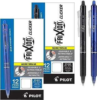 Pilot FriXion Clicker Retractable Erasable Gel Pens, Fine Point, 1 Black Ink Dozen Box & 1 Blue Ink Dozen Box, (Total 24 Pens) (24 Pack, Black/Blue)