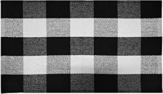 Winwinplus Buffalo Check Rug Hand-Woven Checkered Plaid Rug for Outdoor/Indoor/Door/Floor/Front Porch,Black and White Outside Mat 17.7inch x 27.5inch