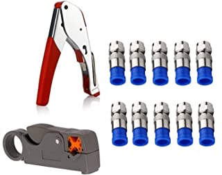Gaobige Coax Cable Crimper Kit Tool for RG6 RG59 Coaxial Compression Tool Fitting Wire Stripper with Gaobige 10 PCS F Compression connectors - Grey