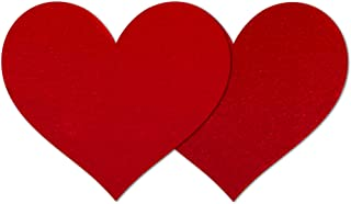 Nippies Style Red Velvet Heart Waterproof Self Adhesive Nipple Cover Pasties