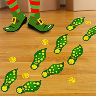 160 Piece St. Patrick's Day Leprechaun Footprints Floor Clings- Shamrock Party Decorations Decals Stickers
