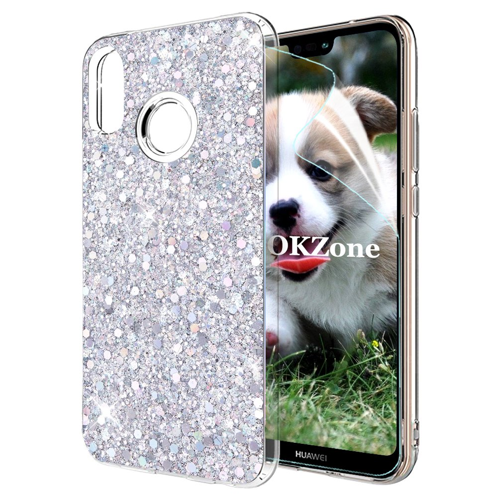 OKZone Funda Huawei P20 Lite Carcasa Purpurina, Cárcasa Brilla Glitter Brillante TPU Silicona Teléfono Smartphone Funda Móvil Case [Protección a Pantalla y Cámara] para Huawei P20 Lite (Plata): Amazon.es: Electrónica