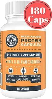 Multi Collagen Caps (Collagen Capsules 1 2 3 5 10) - 180 Count Collagen Peptide Pills. Grass Fed Bovine, Chicken & Eggshell Collagen Capsules Protein Supplement, by Left Coast Performance