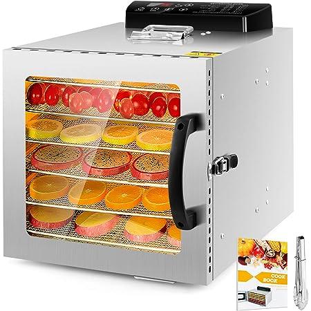 6-Tray Food Dehydrator Machine with Stainless Steel Racks Fruit Vegetable Dryer