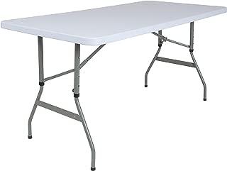 Flash Furniture 5-Foot Height Adjustable Granite White Plastic Folding Table, RB-3050ADJ-GG