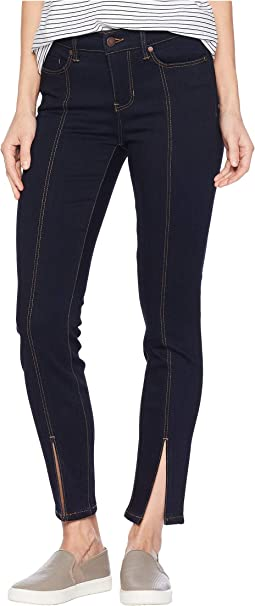 Abby Ankle Front Slit in Super Soft Stretch Denim Jeans in Indigo Rinse