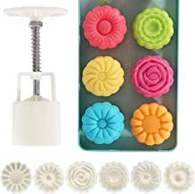 Lautechco Flower Moon Cake Mold Hand Pressure Mould 1 Barrel 6 Stamps 50g (1.8 x 6.2 inch)