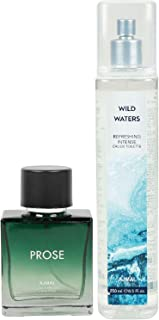 Ajmal Prose EDP for Men 100ml & Wild Waters EDT for Men & Women 250ml Combo pack of 2 (Total 350ML) + 4 Parfum Testers