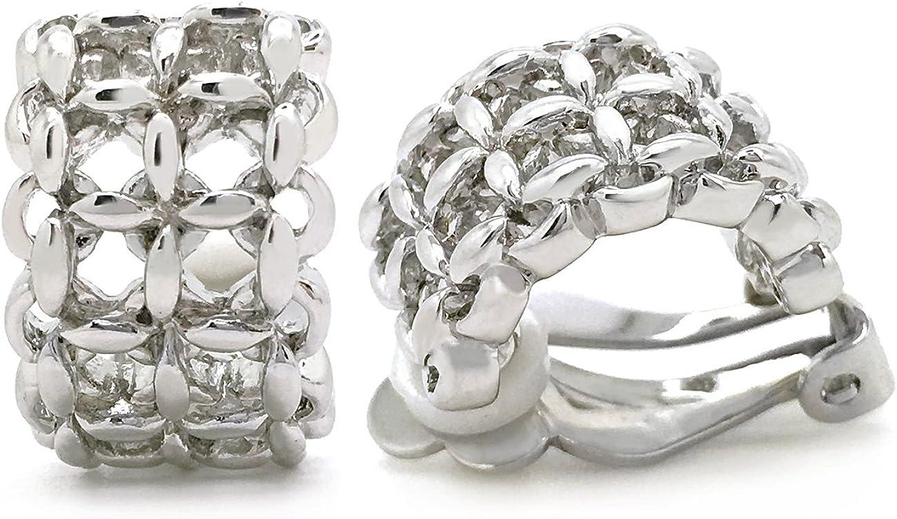Sparkly Bride Clip on Earrings Filigree Rhodium Plated Lattice Women Fashion
