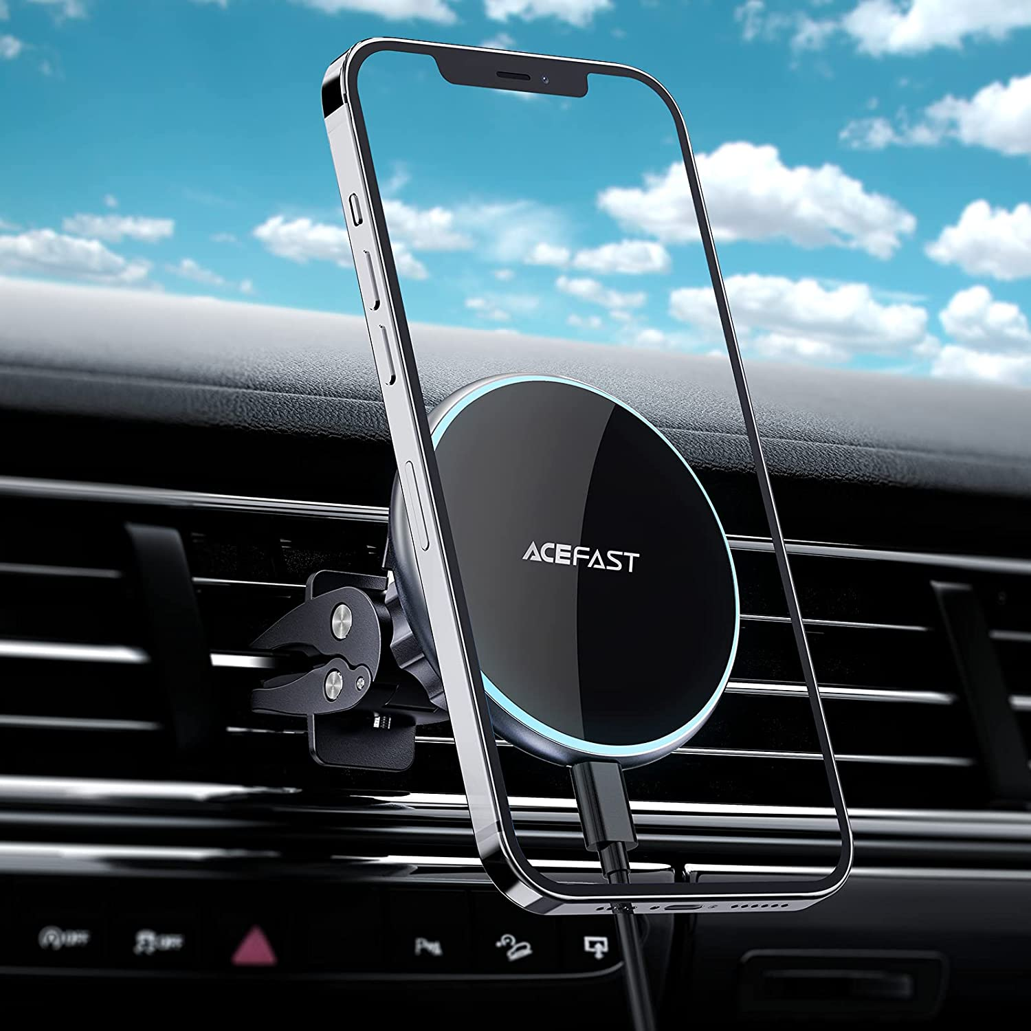 ACEFAST Zinc Alloy Magnetic Wireless Car Charger Compatible with iPhone 12 Pro Max/12 Pro/12, Automatically Align The Position for Charging for iPhone 12 Series, Compatible with Magsafe Cases