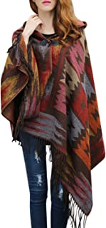 Women's Bohemian Aztec Print Blanket Poncho Hoodie Cape Shawl with Tassels