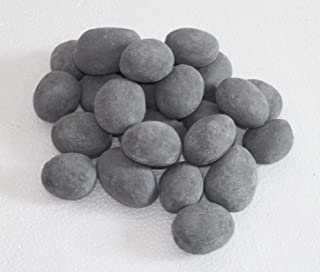hmleaf 24 PCS Fireplace Ceramic Pebbles for Firepits or Fireplaces or Stoves in Gray