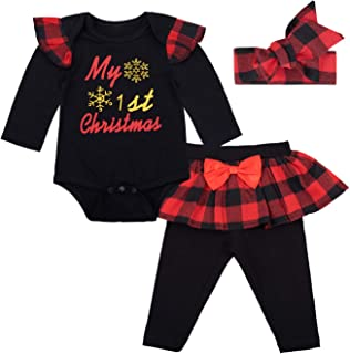 Baby Girls' Christmas 3PCS Outfit Set Costume Santa Long Sleeve Bodysuit
