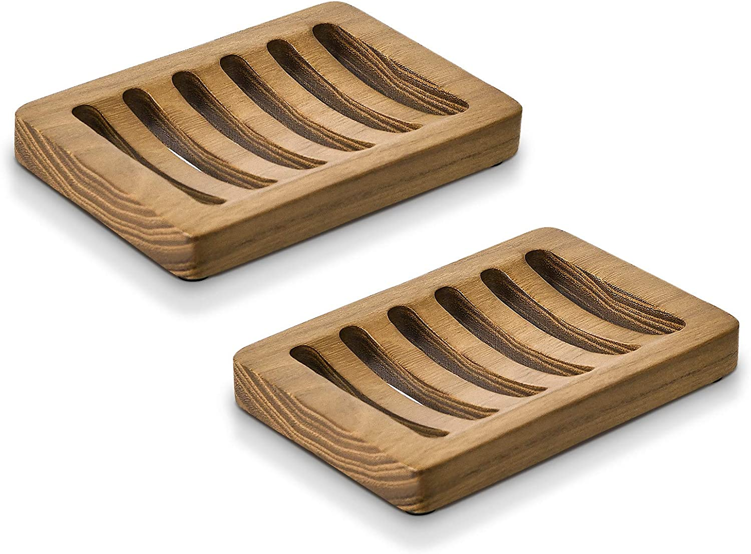 SUBEKYU 【Teak】 Wood Bathroom Soap Dish for Bar Soap, Draining Wooden Soap Holder for Shower, Soap Saver and Tray, Set of 2